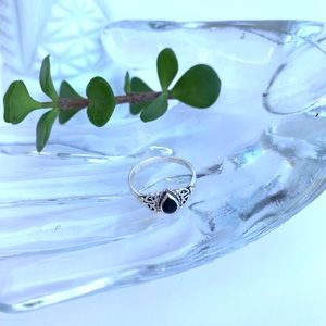 Vintage Silver Ring With Black Stone